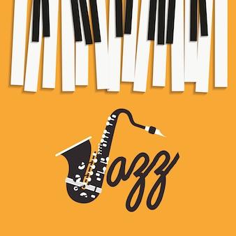 Jazz dag poster met piano klavier en saxofoon