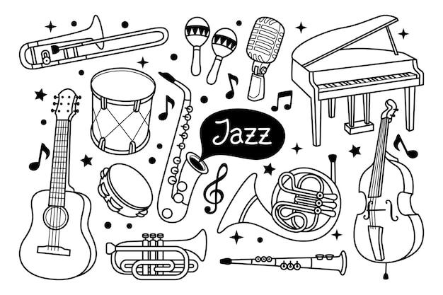 Jazz doodle illustratie Premium Vector