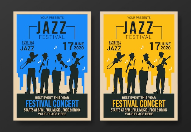 Jazz festival flyer sjabloon