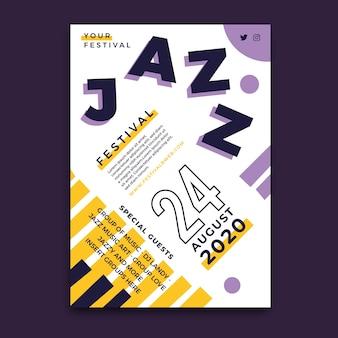 Jazz festival poster sjabloon