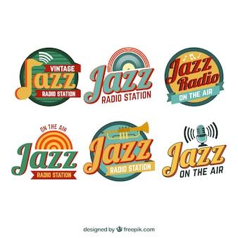 Jazz-logo collectie met vintage stijl