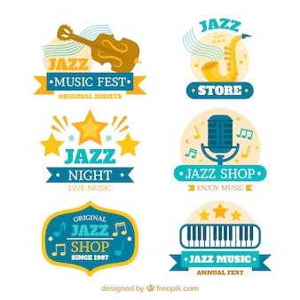 Jazz logo's collectie in vlakke stijl