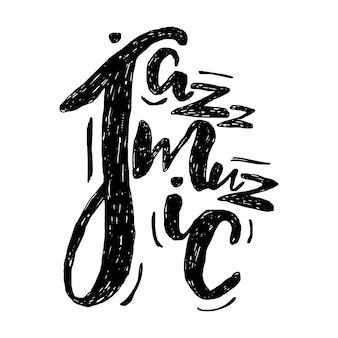 Jazz muziek belettering compositie, inscriptie. hand getekende illustratie voor poster, bordje.