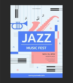 Jazz muziek evenement poster vector illustratie sjabloon