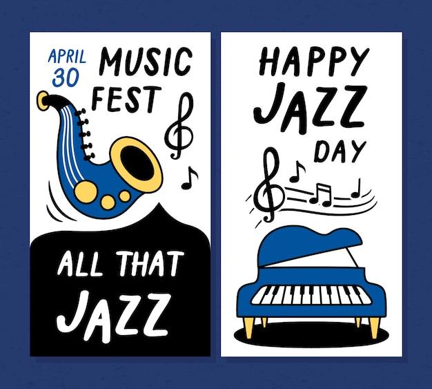 Jazz muziek festival poster en banner ontwerpsjablonen