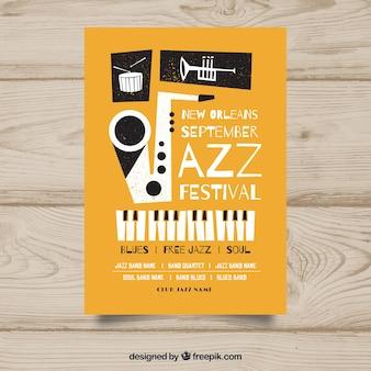Jazz muziek poster sjabloon