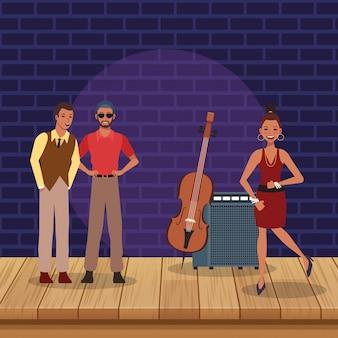 Jazz muziekband in podium met instrumenten
