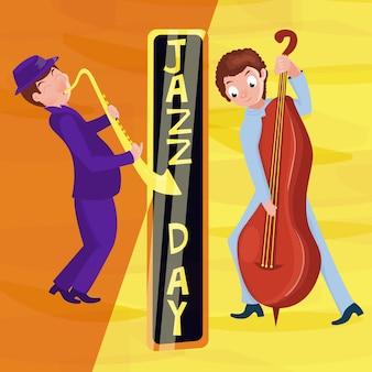 Jazz muziekfestival poster met cartoon saxofonist. internationale jazzdag.