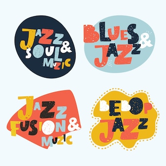 Jazz typografische afbeelding achtergrond. muziek. jazzmuziek met muziek merkt kleurrijk ontwerp op. jazz inscriptie. jazzmuziek concert poster. jazz muziek belettering. uitnodiging voor muziekevenement