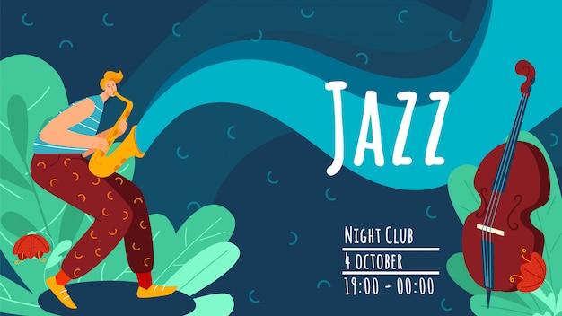 Jazz-uitvoering van muzikant, karakter mannelijke spelen op trompet, altviool illustratie. advertentie flyer, nachtclub muziekconcert.