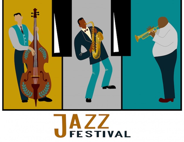 Jazzband. muzikanten spelen instrumenten.