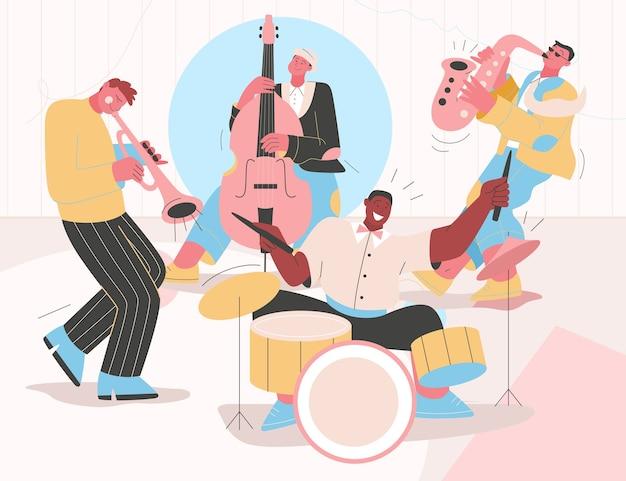 Jazzband speelt muziek op festival, concert of treedt op op het podium.