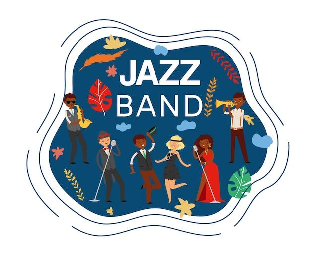Jazzbandinscriptie, composiet op, saxofoonconcertmuziek, podiumapparatuur, illustratie. man zingt lied, muzikanten verschillende nationaliteiten, akoestische scène.