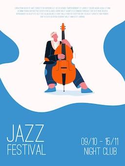 Jazzbandlid speelt muziek op festival, concert of treedt op op het podium.