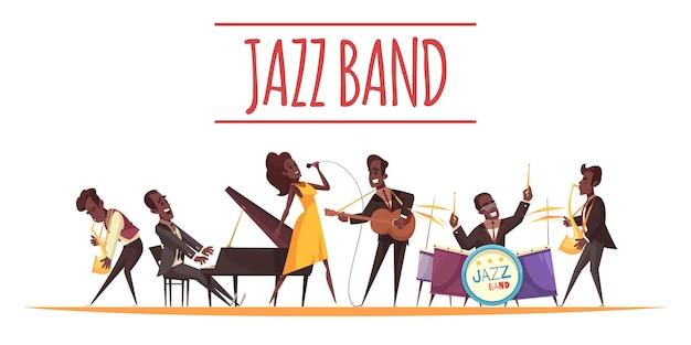 Jazzcompositie met vlakke stijl stripfiguren van afro-amerikaanse muzikanten met instrumenten en tekst