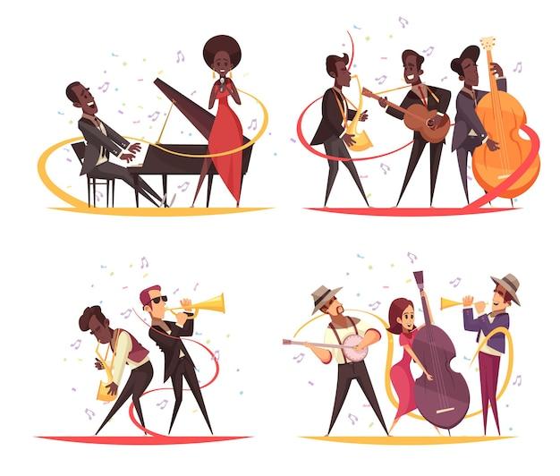 Jazzconcept met stripfiguren van muzikanten op het podium met instrumenten en notitiesilhouetten