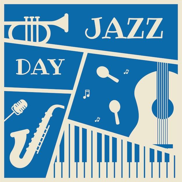 Jazzdag met muziekinstrumenten vectorillustratie voor bannerontwerp