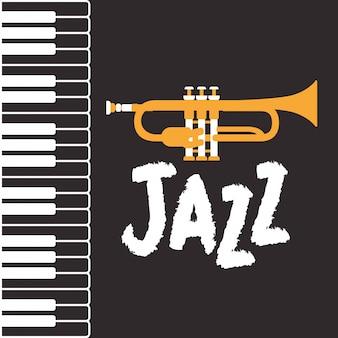 Jazzdagaffiche met pianotoetsenbord en trompet