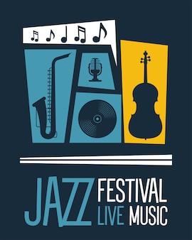 Jazzfestival poster met instrumenten en belettering vector illustratie ontwerp