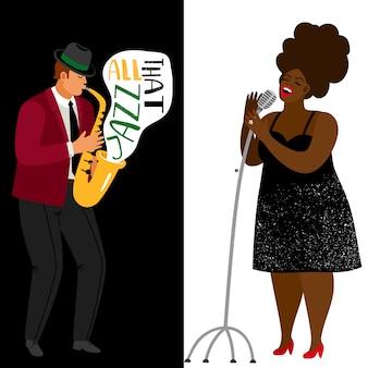 Jazzmuzikant en afro-amerikaanse zangeresjabloon
