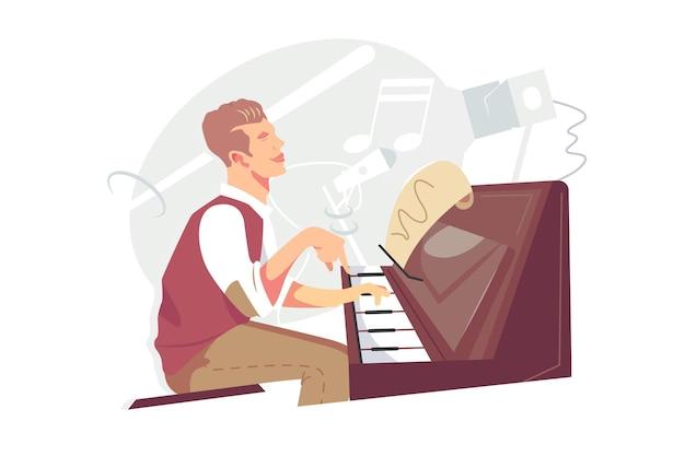 Jazzpianist bij piano instrument vectorillustratie. getalenteerde kerelmuzikant die melodie speelt met vlakke notenstijl. jazz, bluesmuziek, hobby, live-uitvoeringsconcept. geïsoleerd op witte achtergrond
