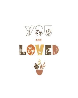 Je bent geliefd - wenskaartsjabloonontwerp. vector illustratie.