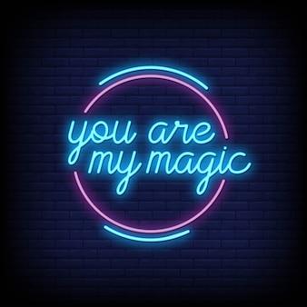Je bent mijn magie voor posters in neonstijl. romantische citaten en woord in neon sign stijl.