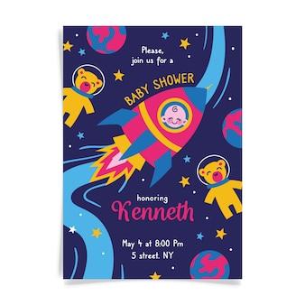 Je bent uitgenodigd voor een babyshower voor jongen en ruimteschip