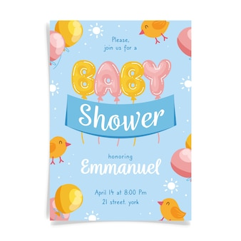 Je bent uitgenodigd voor een babyshower voor jongens met ballonnen