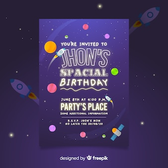 Je bent uitgenodigd voor een ruimtelijke verjaardagspostersjabloon