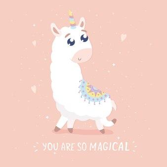 Je bent zo magische kaart schattige cartoon lama illustratie