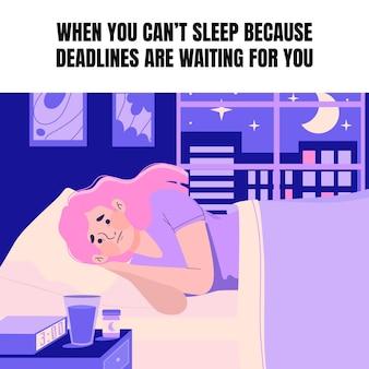 Je hersenen kunnen niet slapen meme Gratis Vector