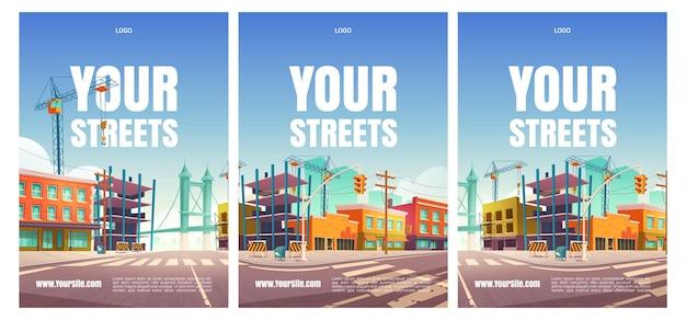 Je straatposters met gebouwen in aanbouw