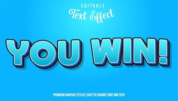 Je wint, blauw cartoon-stijl bewerkbaar teksteffect