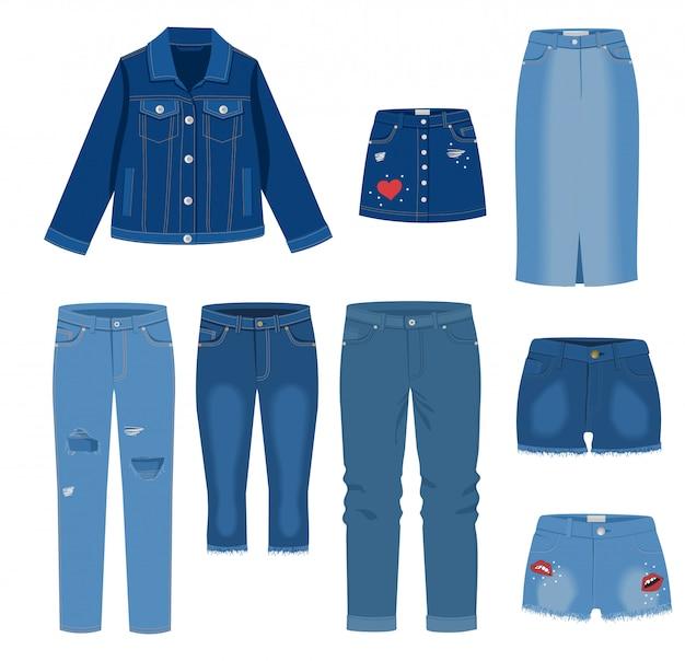 Jeans kleding. trendy manier gescheurde denim vrijetijdskleding illustratie, jeans outfit kledingstukken modellen geïsoleerd op een witte achtergrond. jeans, spijkerrokken, korte broeken, jas.