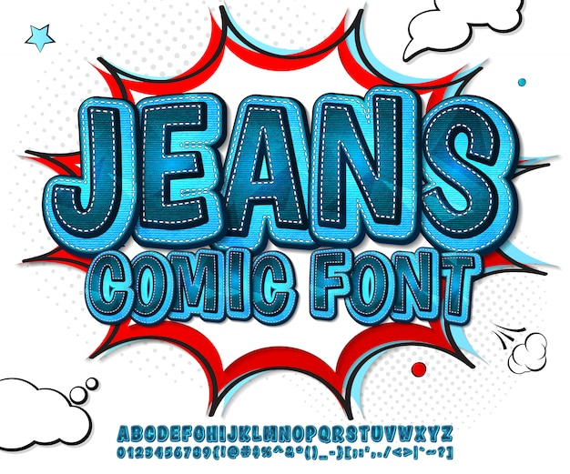 Jeans komisch lettertype in pop-artstijl