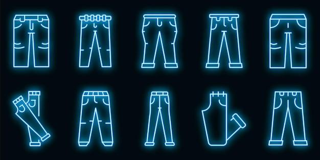 Jeans pictogrammen instellen. overzicht set jeans vector iconen neon kleur op zwart