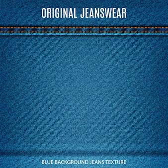 Jeans textuur blauwe kleur met steek denim materiële achtergrond voor uw ontwerp