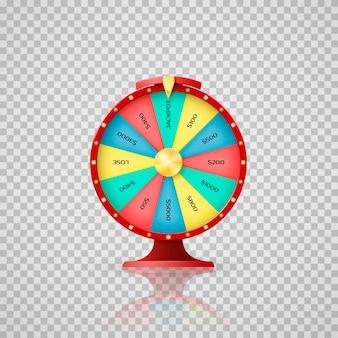 Jeckpot-symbool van gelukkige loterijwinnaar. casino, rad van fortuin pijl wijst naar jackpot. illustratie op transparante achtergrond