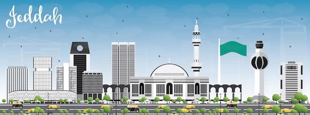 Jeddah skyline met grijs gebouwen en blauwe hemel.