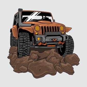 Jeep offroad rijden op vuil of modder, illustratie