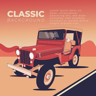 Jeep vector platte afbeelding achtergrond