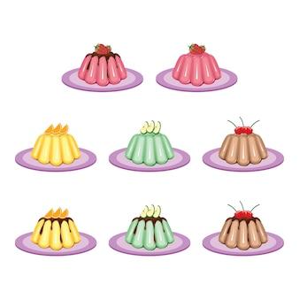 Jelly gelatine pudding sweet fruit dessert kleurrijke set