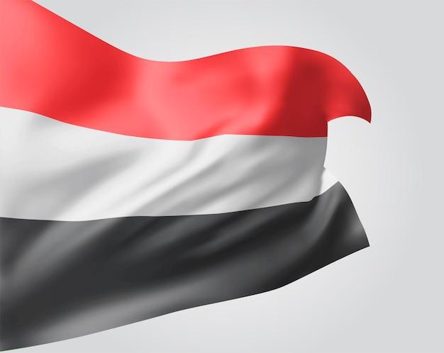 Jemen, vector vlag met golven en bochten zwaaien in de wind op een witte achtergrond.