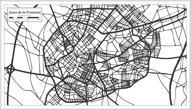 Jerez de la frontera stadsplan van spanje in retrostijl retro
