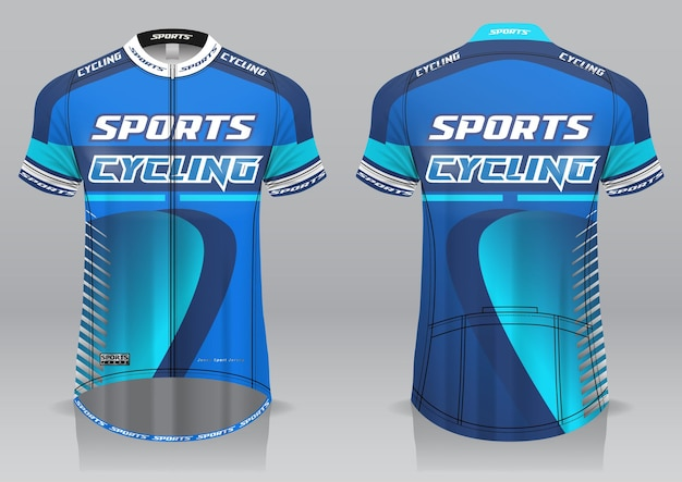 Jersey fietsen voor- en achteraanzicht sportief design Premium Vector