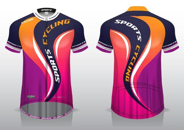 Jersey wielersport, uniform voor- en achteraanzicht sjabloonstof