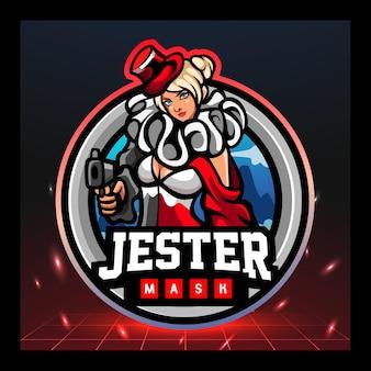 Jester mascot esport logo ontwerp