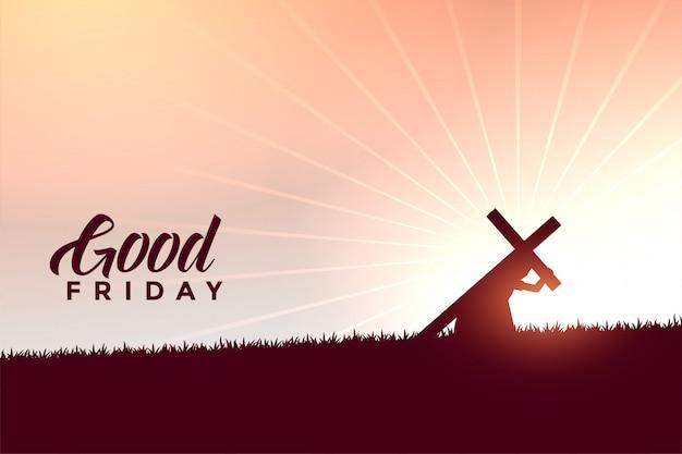 Jesus-christus die de achtergrond van dwars goede vrijdagwensen dragen