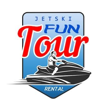 Jet ski leuke tour verhuur logo, geïsoleerd op een witte achtergrond. vervoer per waterscooter.